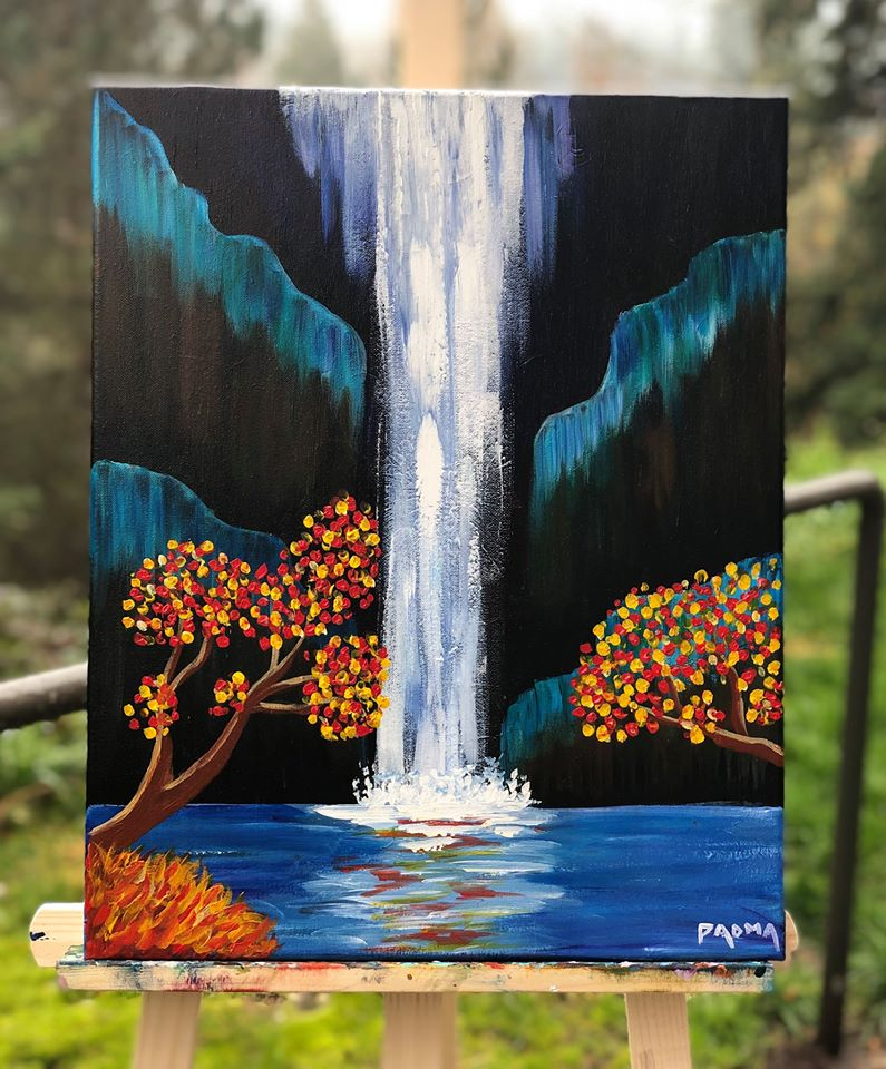 Autumn Waterfall Paint Party At Soulfood Coffeehouse